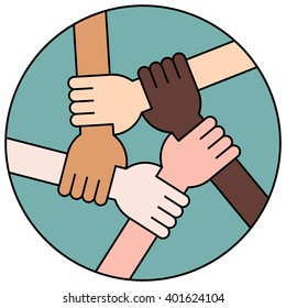 Friendship Circle on Blue Background. Five Hands Holding Each Other as an Interracial Solidarity