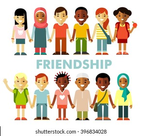Friendship concept with different multicultural happy children in flat style. Multicultural kids group standing in row together, isolated on white background