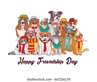 Friendship day cats and dogs isolate group white. Color vector illustration. EPS8