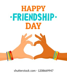 Friendship day concept background. Flat illustration of friendship day vector concept background for web design
