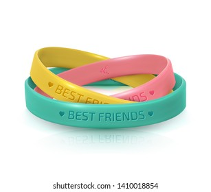 Friendship Day greeting card, happy holiday of amity. Three rubber bracelets for best friends: yellow, pink and turquoise. Silicone wristbands on white background