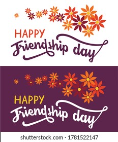 """""""Friendship day"""" hand lettering text on white and dark background. Happy friendship day greeting card, invitation, poster or T-shirt design."""