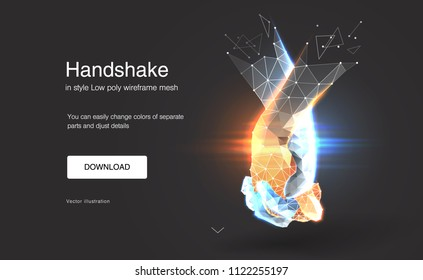 Friendship day. Handshake. Abstract handshake. Polygonal mesh. the effect of technological innovation, the future. Gesture of unity or union together. Vector Illustration for banner