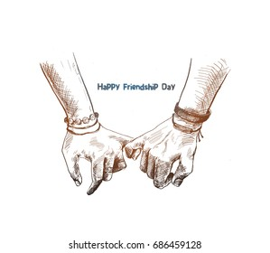 Friendship day with holding promise hand, Hand Drawn Sketch Vector illustration.