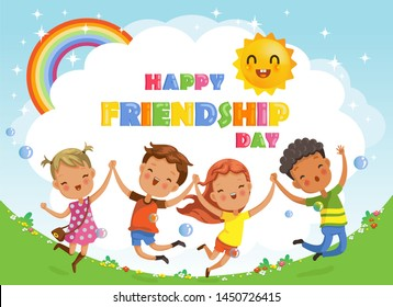 Friendship day. kids are Jumping and laughing, together happily. Boys and girls celebration.Design greeting cards or posters from the concept of children's friendship. Cartoon character vector.