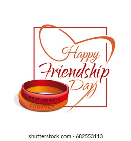 Friendship Day lettering card. Typographic design. Red and orange friendship bands. Happy Friendship Day. Vector illustration