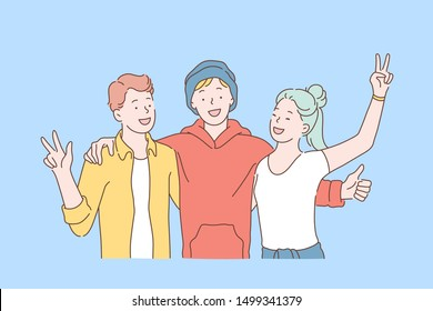 Friendship day, team, cooperation concept. Happy school friends or teens schoolmates hugging together. Young girl and guys raised their hands with peace sign. Simple flat vector.