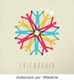 Friendship diversity group concept, illustration of diverse people team holding hands in colorful style over texture background. EPS10 vector.