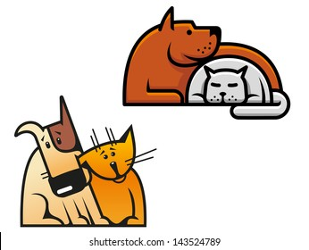 Friendship of dog and cat for concept of pets design or idea of logo. Jpeg version also available in gallery