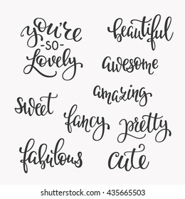 Friendship Family Romantic love lettering. Calligraphy postcard graphic design typography. Hand written vector postcard. You are so cute lovely sweet awesome beautiful amazing fancy pretty fabulous