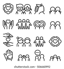 Friendship & Friend icon set in thin line style