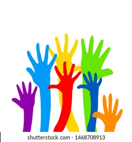Friendship. Hands are multicolored. Friendship Day. Vector illustration