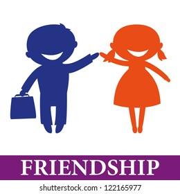 Friendship: Happy children hand in hand. Boy and girl
