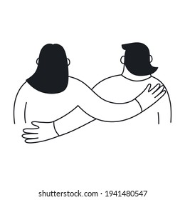 Friendship, hugging couple in black-white style. Romance, support, love, and relationships. Flat thin line vector illustration on white.