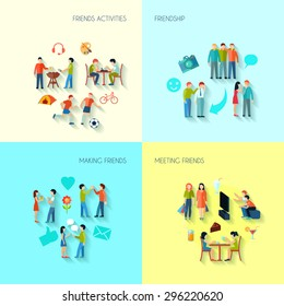 Friendship icons set with activities making and meeting friends flat isolated vector illustration