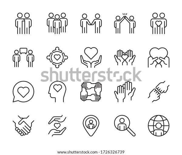 Friendship line icons set vector illustration. editable stroke