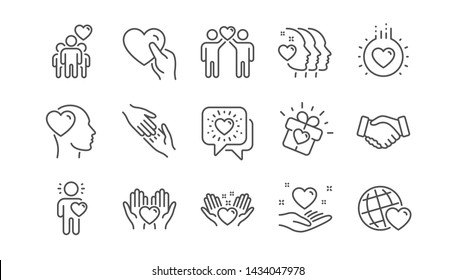 Friendship and love line icons. Interaction, Mutual understanding and assistance business. Trust handshake, social responsibility icons. Linear set. Vector