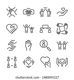 Friendship and love line icons set vector illustration