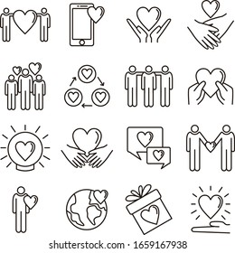 Friendship and love line icons set vector illustration. Contains such icon as handshake, hug, solidarity, team and more. Editable stroke