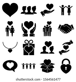 Friendship and love Seth icon, logo isolated on white background. Heart, people in love, friends and relationships, social responsibility Icons