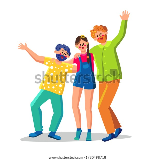 Friendship Of People Group Man And Woman Vector. Friendship Of Team Smiling Young Boy And Girl Hugging Together, Happy Friends. Laughing Friendly Characters Community Flat Cartoon Illustration
