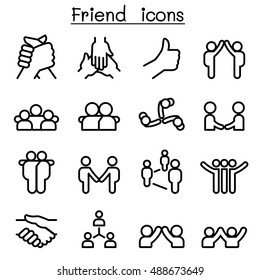 Friendship & Relationship icons in thin line style