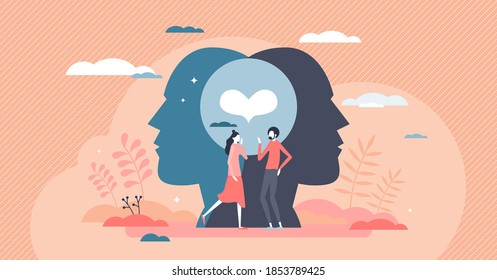 Friendship relationship status with friends solidarity and trust union tiny person concept. Couple partnership and love emotions as two mental linked and bonding social beings vector illustration.