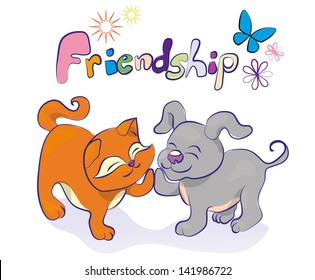 friendship vector cartoon illustration with kitten and puppy, coloreul word