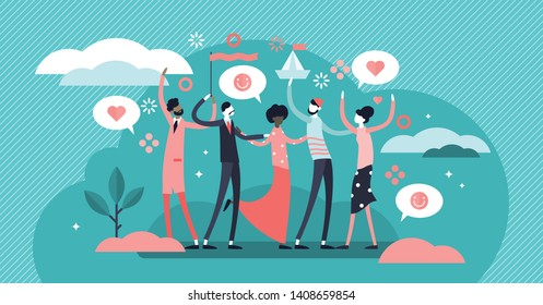 Friendship vector illustration. Flat tiny social relationship union persons concept. Trust and solidarity group symbolic partnership. Society community with cheerful support and united team lifestyle.