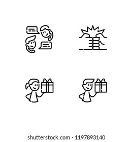 Friendship,friends relationship outline detailed lineal icon set EPS 10 vector format. Transparent background.