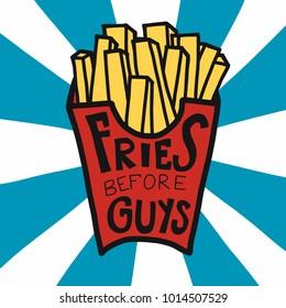 Fries before guys cartoon vector illustration