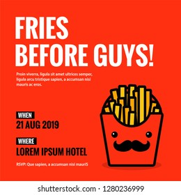 Fries Before Guys Invitation Design with Where and When Details