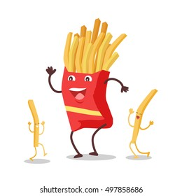 Fries dancing isolated on white. Funny food story conceptual banner. Fresh cooked potatoes character in cartoon style on disco. Happy meal for children. Childish menu poster. Vector illustration