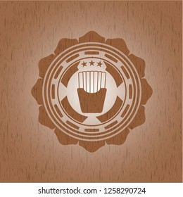 fries icon inside badge with wood background