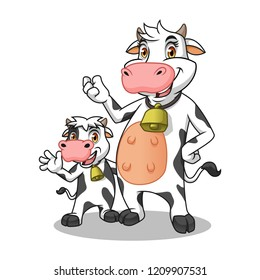 Friesian holstein dairy mother and her child, cartoon character mascot, vector illustration.