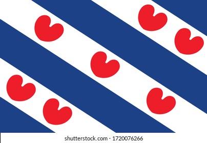 Friesland ( province, Netherlands ) flag vector icon