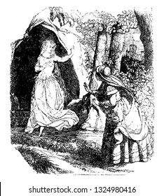 In Friesland there were amount of fairies who were staying in the caves, around the mountains, and they do not came out only in the moonlight., vintage line art illustration. Infernal Dictionary 1863.