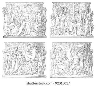 Frieze decoration from monument Frederick William II / sculpture by Drake / vintage illustration from Meyers Konversations-Lexikon 1897