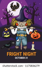 Fright night - template for halloween theme cards, posters, flyers, invitations. Scarecrow in scary night scene vector hand drawn line illustration