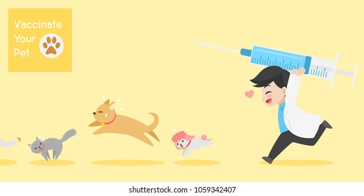 Frighten cute dogs, cat run doctor with injection needle character for vaccinate pets on background, vaccine concept