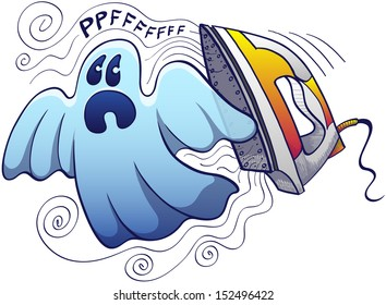 Frightened blue ghost, bed-sheet shaped style escaping from an evil yellow iron which is expelling steam and making scary noises