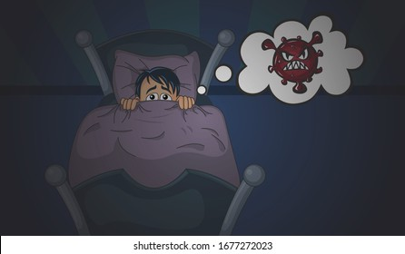 Frightened boy character and nightmare of covid 19. Dangerous coronavirus outbreak, world quarantine, stay at home.  Vector cartoon illustration