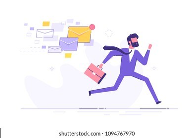 A frightened businessman is running away from a plenty emails chasing him. Modern character design. Vector illustration.