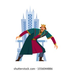 Frightened king's character stands next to the throne. Gripped by fear, confused, terrified, cowardly. Emperor, Monarch, ruler of the medieval king. Cartoon flat style vector illustration