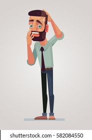 Frightened man character. Vector flat cartoon illustration