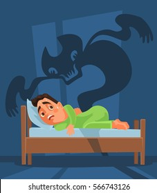 Frightened man character woke up and nightmare ghost. Vector flat cartoon illustration