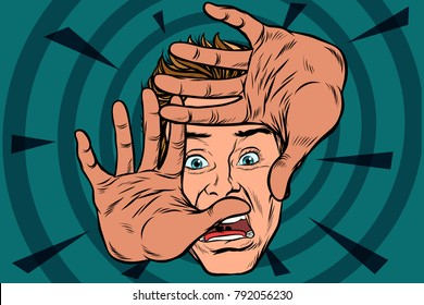 frightened man is protected by hands. Pop art retro vector illustration