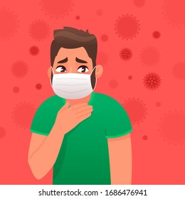 Frightened man with a protective medical mask on his face against a virus background. Danger of coronavirus infection. The concept of fear of contracting a disease. Vector illustration cartoon style