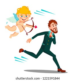 Frightened Man Running From Valentine's Day Cupid Vector. Isolated Illustration