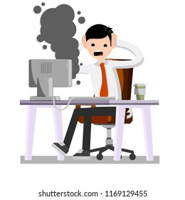 A frightened office worker shouts and holds his head looking at the monitor. A broken computer is Smoking. Virus and bug. The problem with the technique. Stress and man.